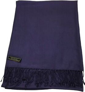 Navy Blue Fringe Solid Colour Design Nepalese Shawl Wrap Pashmina CJ Apparel NEW