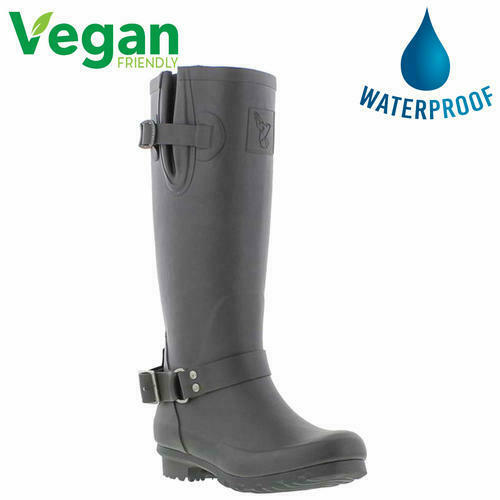 Evercreatures Womens Ladies Wellies Vegan Wellington Biker Style Boots Size 4-8