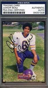 JUNIOR-SEAU-PSA-DNA-COA-Autographed-1992-PRO-LINE-Authentic-Hand-Signed