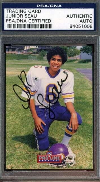 JUNIOR SEAU PSA DNA COA Autographed 1992 PRO LINE Authentic Hand Signed