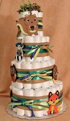 4 Tier Diaper Cake Woodland Forest Friends Clever Fox Baby