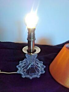 Ancien Pied De Lampe Cristal Et Cuivre Avec Abat Jour