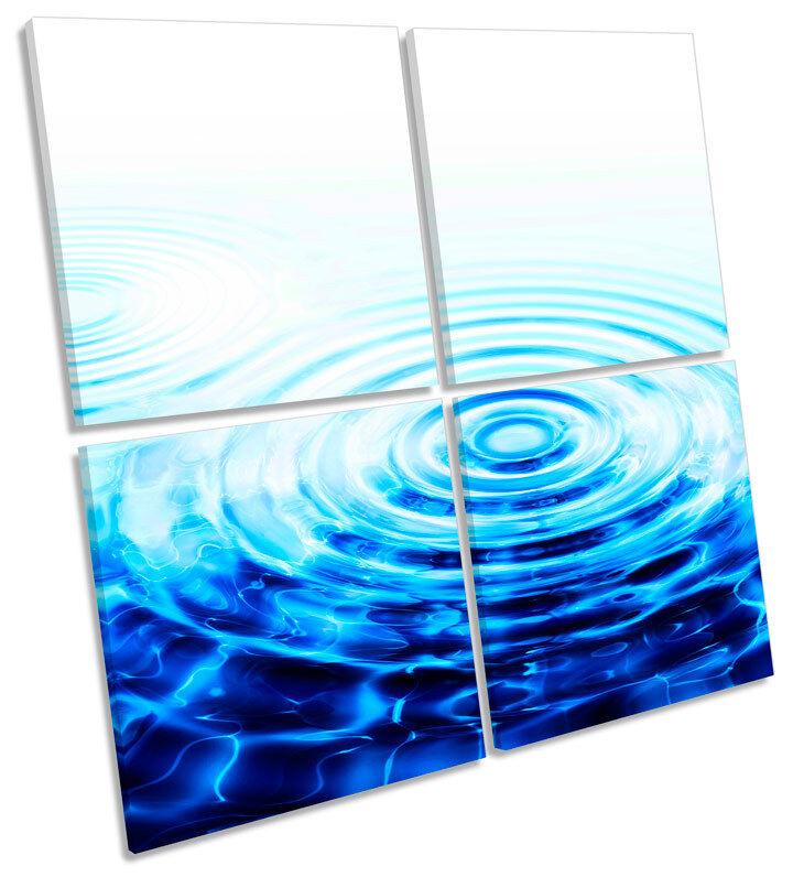 ASTRATTO ACQUA Ripple Blu Blu Blu Multi Canvas Wall Art STAMPA QUADRATO 0874c4