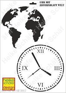 Schablone-Stencil-A3-074-5017-Uhr-mit-Ziffernblatt-Neu-Heike-Schaefer-Design