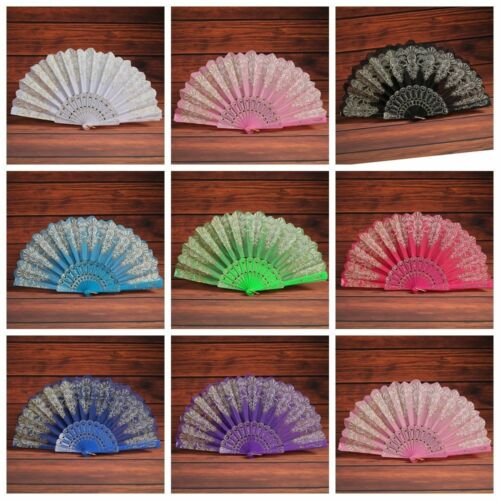 Vintage Bamboo Chinese Dance Party Pocket Folding Hand Flower Held Fan/&Cover Bag