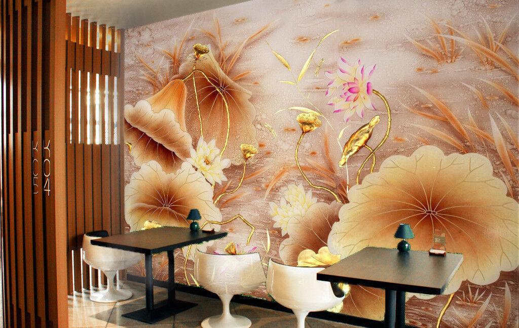 3D Goldenes Lotusblatt 556 Tapete Tapeten Mauer Foto Familie Tapete Wandgemälde