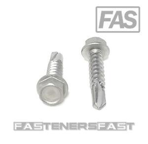 Hex Washer Head #12 x 2 Self Drilling TEK Screw Stainless Steel 100