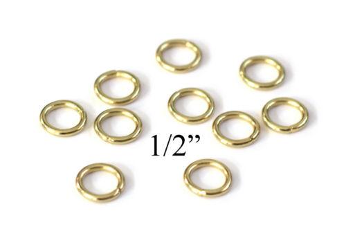 "Gold Toned 0.5/"" Macrame Ring PACK of 25 Metal Ring Hoop Brass"
