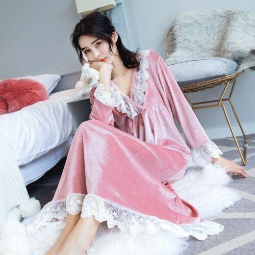 Womens Lace Trim Velvet Pajamas Pyjama Long Sleeve Sleep Gown Robe Lounge Dress