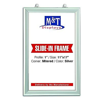 "Mitered Corners 0.93/"" Profile Single Sided 11/"" X 17/"" Slide In Frame Silver"