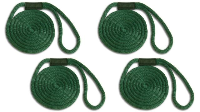 """Forest Green 5//8/"""" x 15/' Solid Braid Dock Lines Made in USA"""