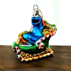 Kurt-Adler-Christmas-Glass-Ornament-2011-Cookie-Monster-on-Sleigh-Sesame-Street