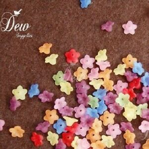 100PCS X 7MM MIXED COLOUR CLOVER SHAPED ACRYLIC BEADS FOR JEWELLERY MAKING
