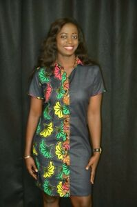 d7249a5ed348 Image is loading Lade-Denim-and-African-Ankara-Designer-Dress-Party-