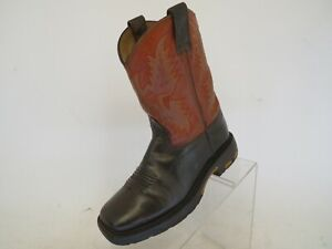 ARIAT-Orange-Brown-Leather-Western-Cowboy-Boots-Youth-Size-1-5