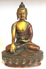 Antique Buddha Medicine Large Budha Brass 8.5'' HEAVY Meditation hand carved