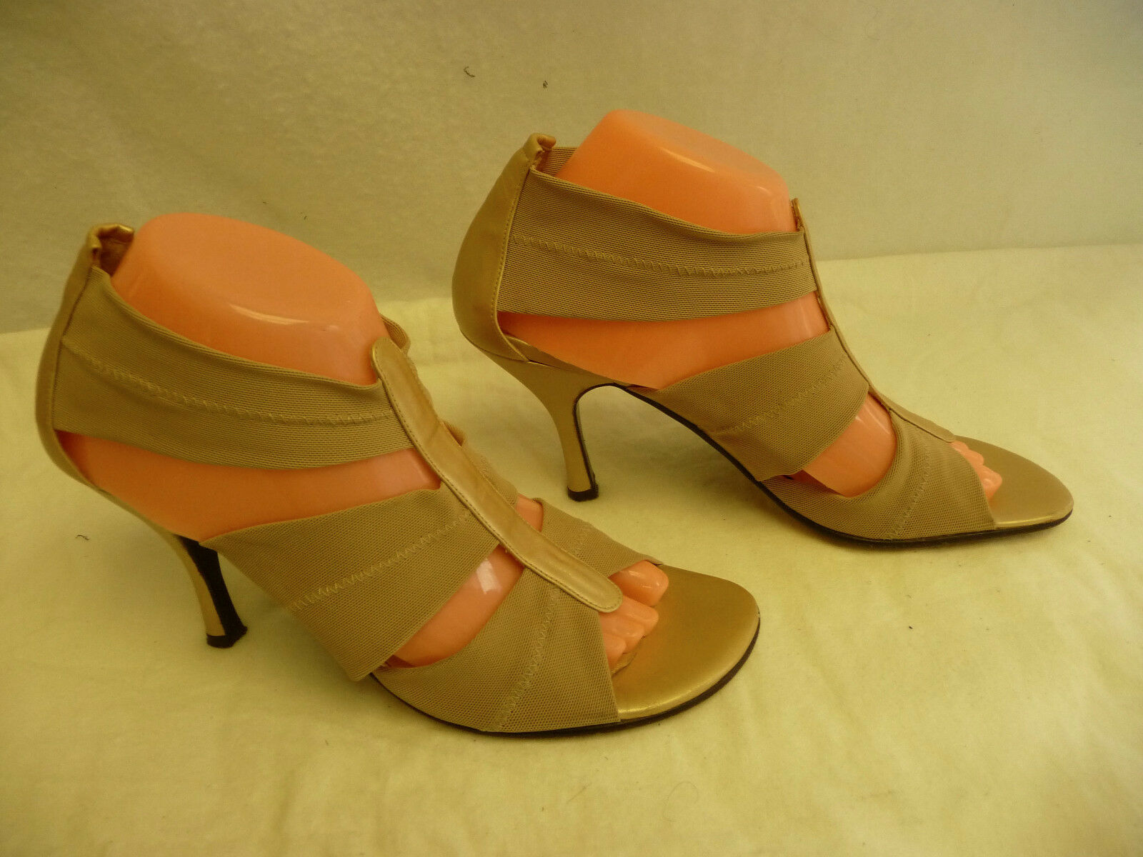 DONALD J PLINER 9.5M Beige Open Toe Stilettos 9.5M PLINER Stretch Strappy Gold Backs Spain 22f4a6