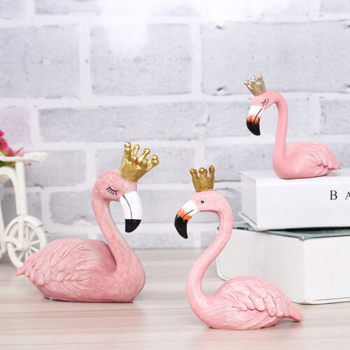 Resin Pink Flamingo Tabletop Ornament Kids Toys Room Decor Stand Lawn Statue