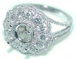 1-47-CT-DAZZLING-Round-Flower-Spiral-Halo-Diamond-Mounting-Ring-Setting-14KW