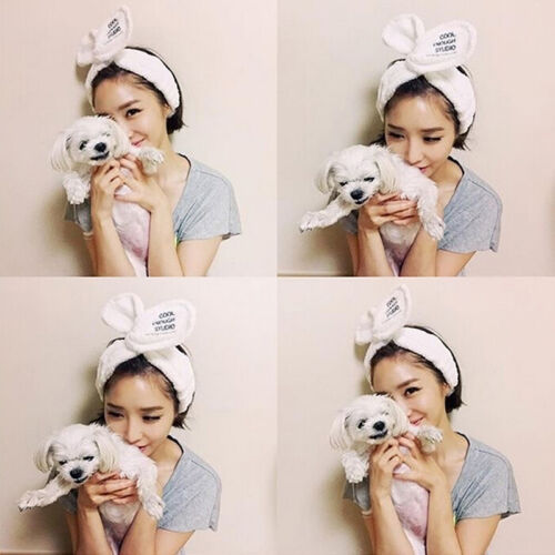 1x Big Rabbit Ear Soft Towel Hair Band Wrap Headband For Bath Spa Make Up^ WN