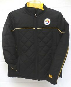 new product 5c0b1 07cec Details about Pittsburgh Steelers Women's S Quilted Full Zip Jacket P888