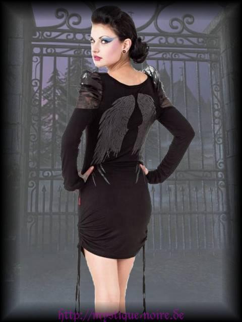 Gothic Minikleid Engelsflügel Engel Mini Kleid schwarz Pin Up 36 38 40 42