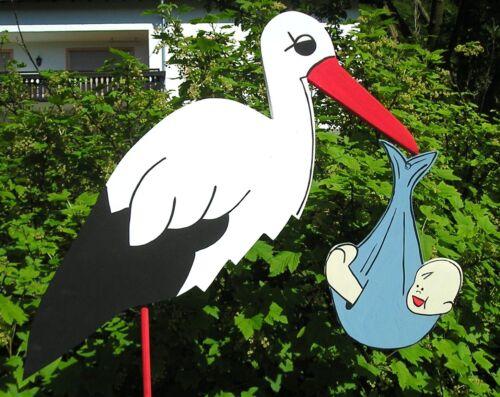 GESCHENK zur GEBURT mit BABY HOCHZEIT ´ 110 cm HOLZ-STORCH KLAPPERSTORCH