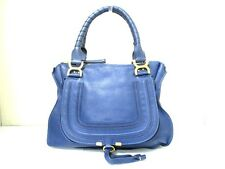 Authentic Chloe Blue Medium Marcie Leather Handbag