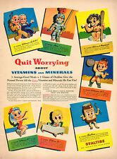 1944 vintage AD OVALTINE early energy drink Cartoon Art  100415
