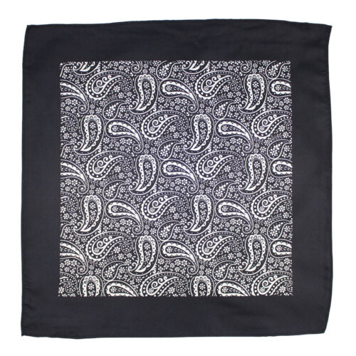 Black Paisley Silk Pocket Square Formal Wear Dress Suit Silk Handkerchief