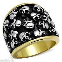 Mens Haunted Skulls Two Tone Gold Plated Stainless Steel Ring