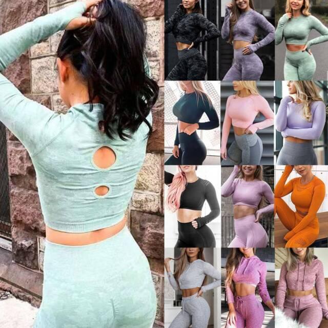 Women Yoga Crop Tops Long Sleeve Stretch Shirt Fitness Workout Activewear Tops
