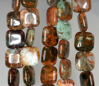 14mm African Green Opal Gemstone Brown Green Square Loose Beads 15.5
