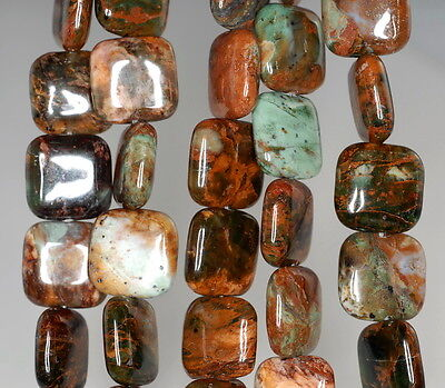 """35X20MM AFRICAN GREEN OPAL GEMSTONE BROWN GREEN RECTANGLE LOOSE BEADS 15.5/"""""""