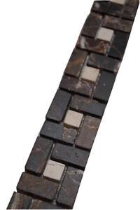 Das Bild Wird Geladen Borduere Mosaik Marmor Naturstein Braun Creme Beige  Fliesen