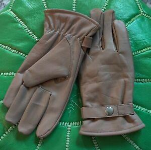 Men's Gloves Dressy Leather Warm Thermal Fully Lined Warm Fleece Wrist Strap