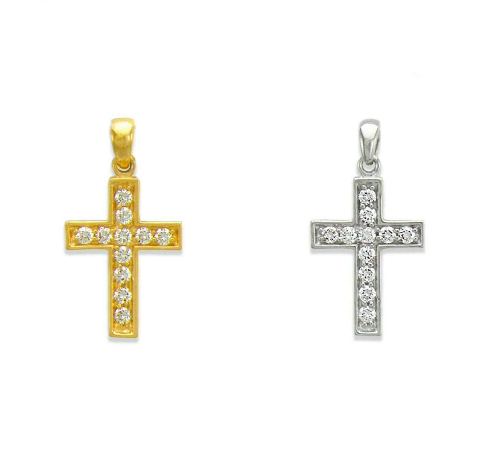 Gold 14K CZ Necklace Religious Necklace Minimalist Necklace Dainty Necklace Diamond Cross Necklace Delicate Gold Cross Necklace Gift for Her