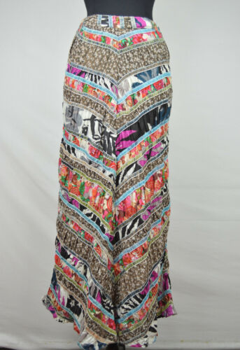 C0-S42Q-YRRW FREE PEOPLE MULTI-COLOR DARK NATURE 100/% COTTON MAXI SKIRT 0 $198