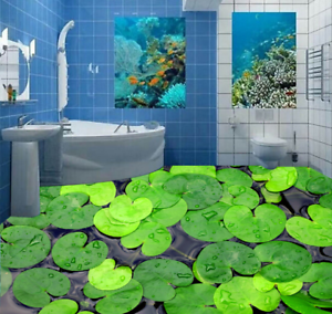 3D Green Lotus Leaf 6 Floor WallPaper Murals Wall Print 5D AJ WALLPAPER UK Lemon