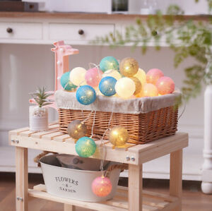 Mains-Plug-In-3M-Home-Lights-String-Fairy-20-Mix-Colour-LED-Cotton-Globe-Ball