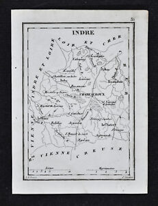 1833-Perrot-Tardieu-Map-Indre-Chateauroux-Le-Blanc-Chatre-Issoudun-France
