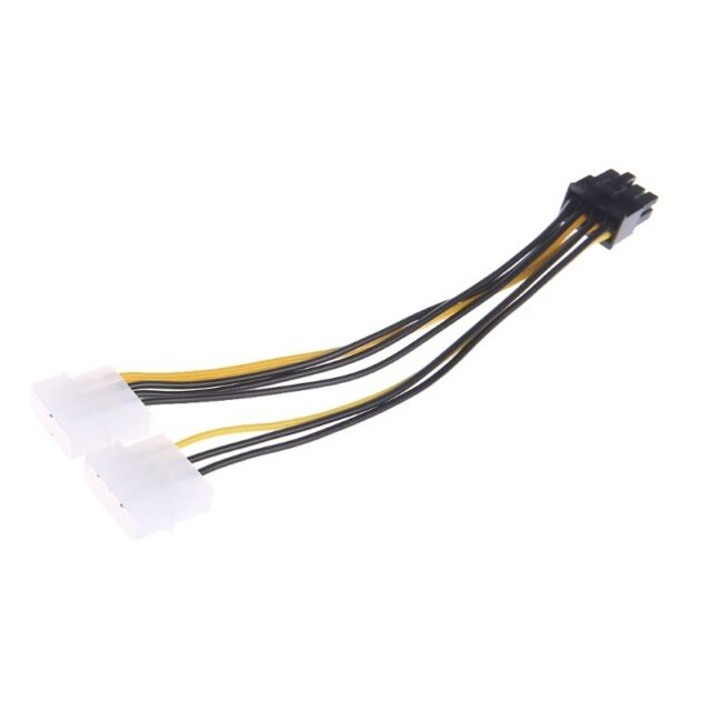 Dual Molex Lp4 4 Pin to 8 Pin Pci-e Express Converter Adapter Power ...
