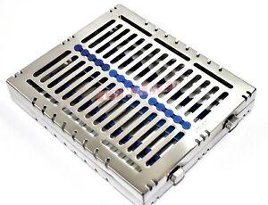 1 Deutsche Dental Autoclave Sterilization Cassette Rack Tray für 15 Instrument Blu