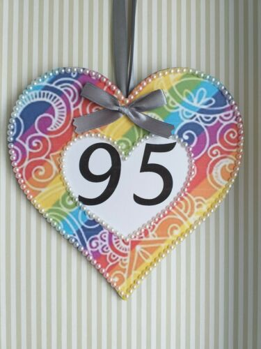 Large Rainbow Wooden Hanging Heart Decoration Ornament