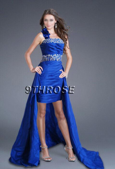 FEEL DIVA  HIGH-LOW HEM blueE BEADED PLEATED FORMAL EVENING PROM DRESS AU 10 US 8