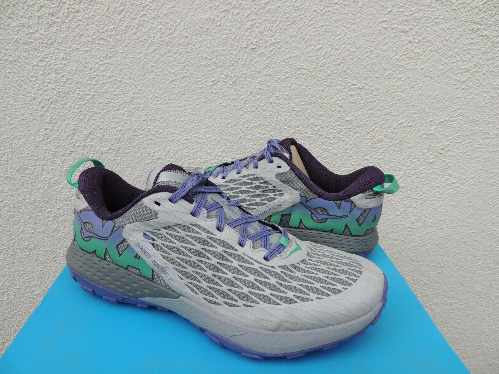 HOKA ONE ONE SPEED INSTINCT GREY  CORSICAN blueE RUNNING SHOES, US 7  38 2 3 NEW