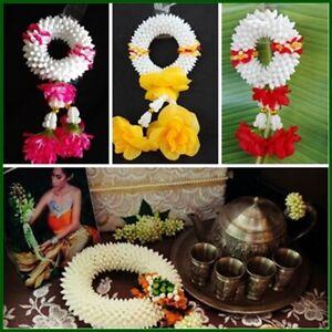 Artisanat Thai Hanging Jasmin Guirlande Tissu Plastique Fleur Culte Malai Cadeau-afficher Le Titre D'origine Emballage Fort