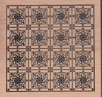 Star Mosaic Outlines Wood Mounted Rubber Stamp 5 1/2x 5 1/2 Free Shipping