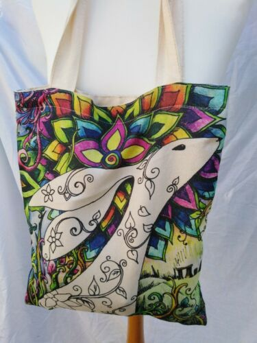 Double sided shoulder bag Goddess and Hare Pagan Wicca art gift carrier shopper