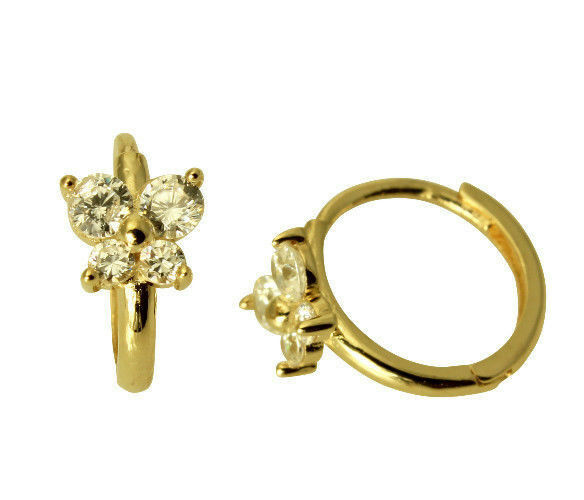 14k Yellow Gold Erfly Cz Huggies Earrings For Baby And Children Ebay